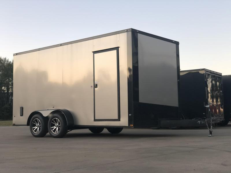 2020 Spartan 7x16x7 Enclosed Cargo Trailer Pewter with Aluminum Wheels