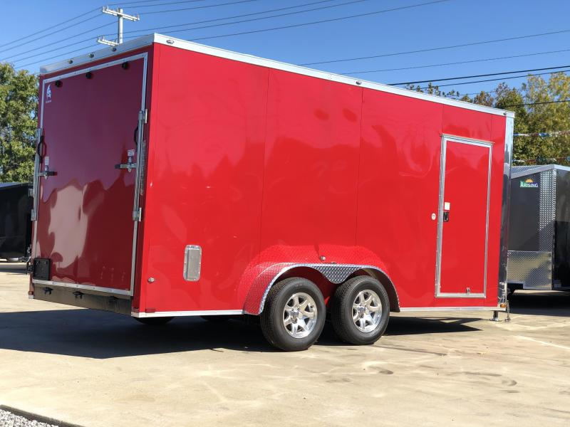 2020 Spartan 7x16x7 TA Red Enclosed Cargo Trailer with Aluminum Wheels