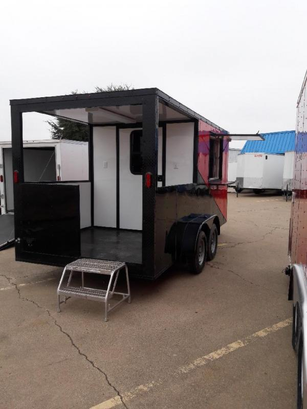 2018 Red/ Black 7x16 Concession BBQ Smoker Trailer