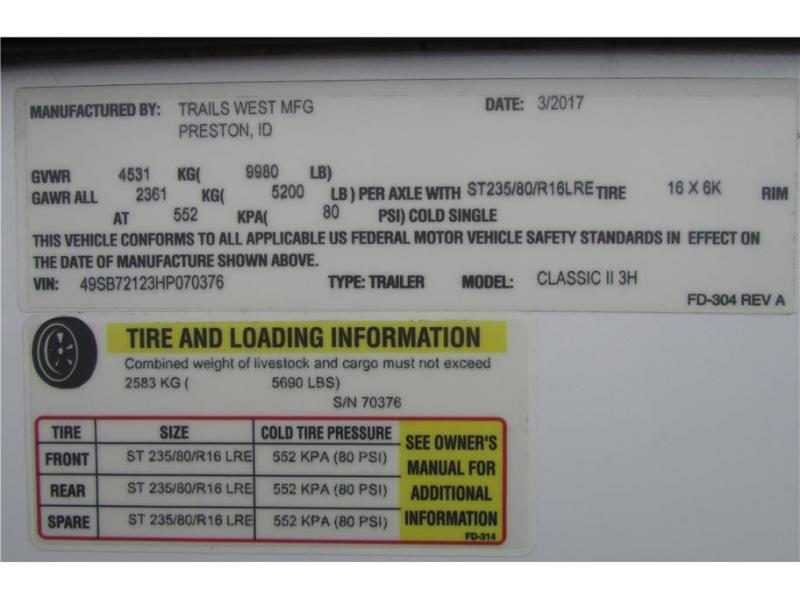2017 Trails West Manufacturing Classic II 3H BP