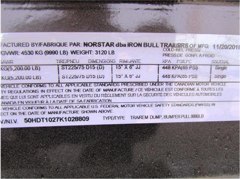"2019 Norstar BP Dump Trailer IRON BULL 60""X10'  2-5,200lb Axles"