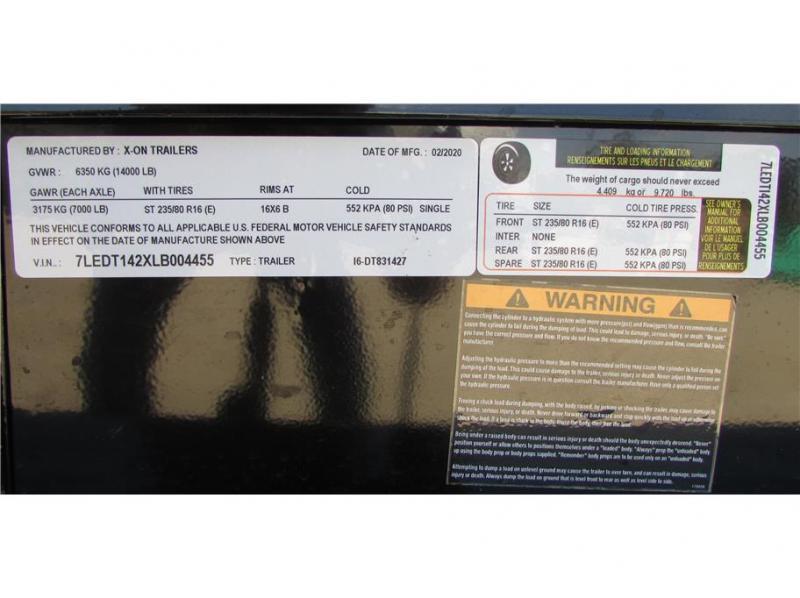 "2020 X-On BP Dump Trailer 83""x14' 14K"