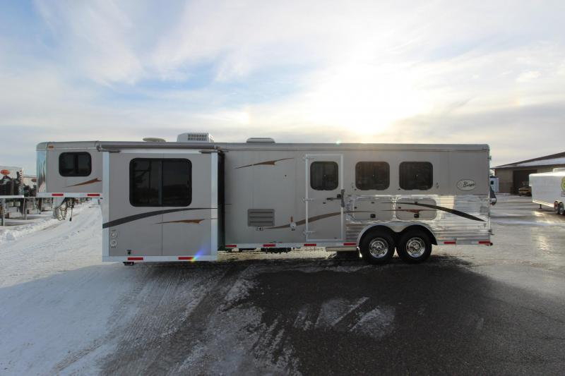 2008 Bison Trailers 3HR GN 12' LQ with 6' Slide out Horse Trailer