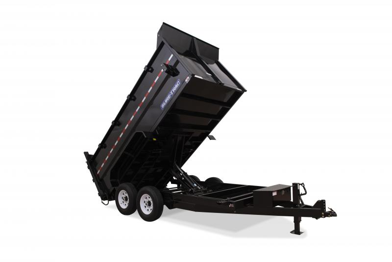 2020 Sure-Trac 7X14 DUAL RAM 4'SIDES 14K Dump Trailer