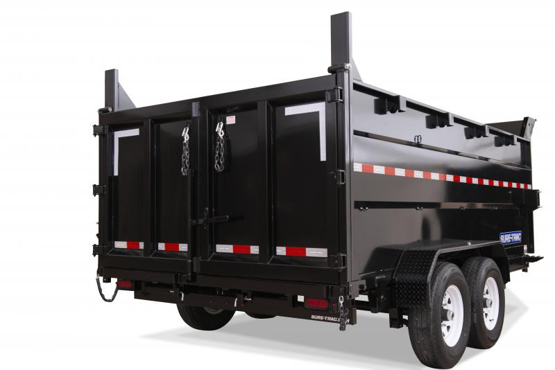 2020 Sure-Trac 7X16 DUAL RAM 4'SIDES 14K Dump Trailer