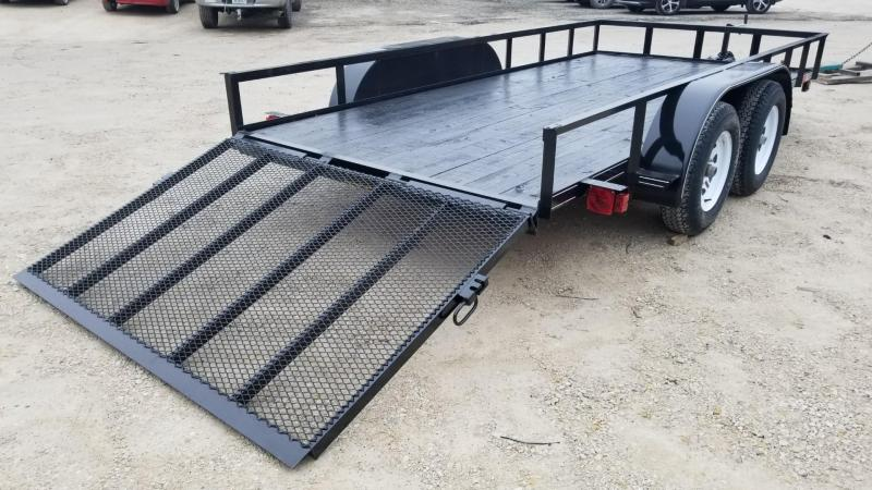 2020 M.E.B. 6.4x14 Angle Iron Utility Trailer w/Gate and Brakes 7k