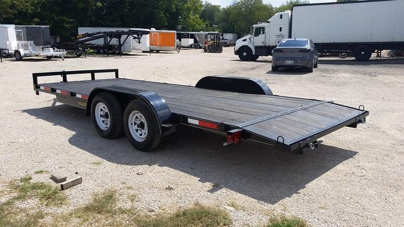2020 M.E.B 7x20 Wood Deck Auto Hauler w/Slide Out Ramps 7K