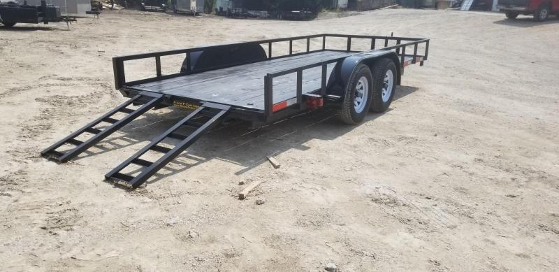 2019 M.E.B 6.4x16 Angle Iron Utility Trailer w/Slide Out Ramps and Brake 7k