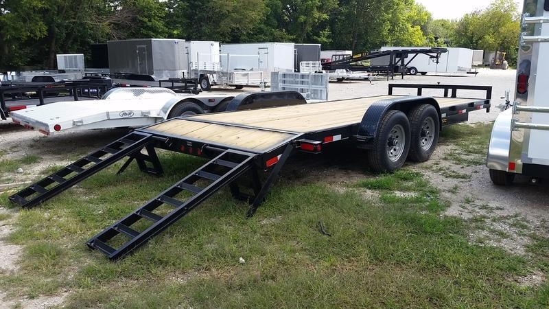 2020 M.E.B 7x20 Treated Wood Deck Equipment Trailer w/Stand Up Ramps 12K