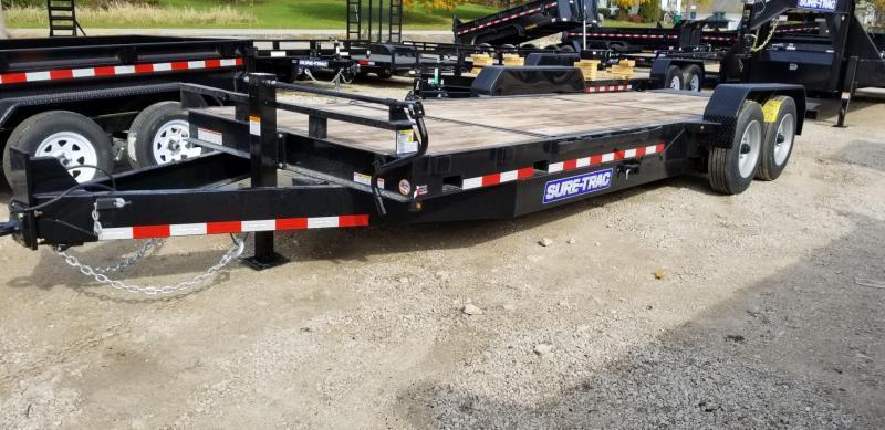 2020 Sure-Trac 7x18+4 Oak Wood Tilt Deck Equipment Trailer 16K