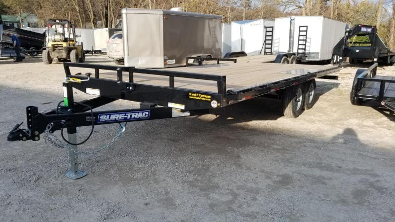 2020 Sure-Trac 8.5x20 Flatdeck Equipment Trailer w/Slide Out Ramps 10k