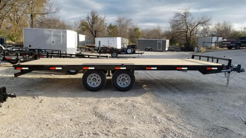 2020 Sure-Trac 8.5x20 Flatdeck Equipment Trailer w/Slide Out Ramps 10k