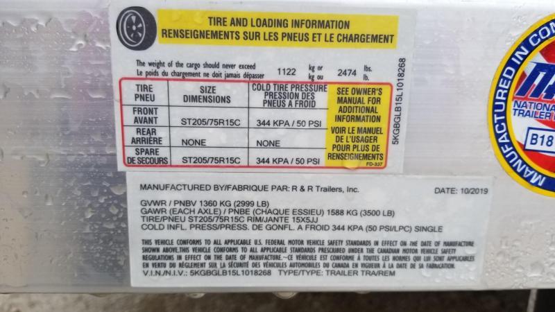 2020 R and R 6x12 UTA Utility Trailer w/Ramp 3k