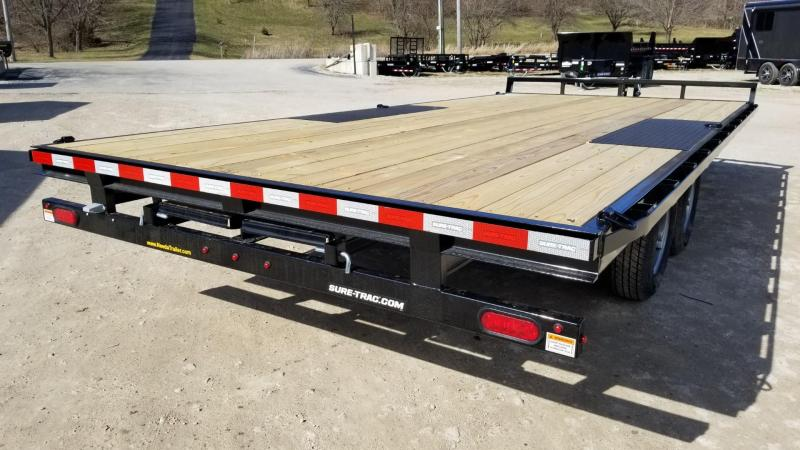 2020 Sure-Trac 8.5x18 Deckover Flatbed Trailer w/Slide Out Ramps 10k