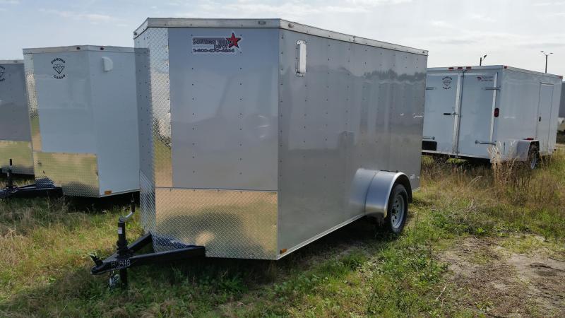New 6x12 WHITE Single Axle Enclosed Cargo Trailer