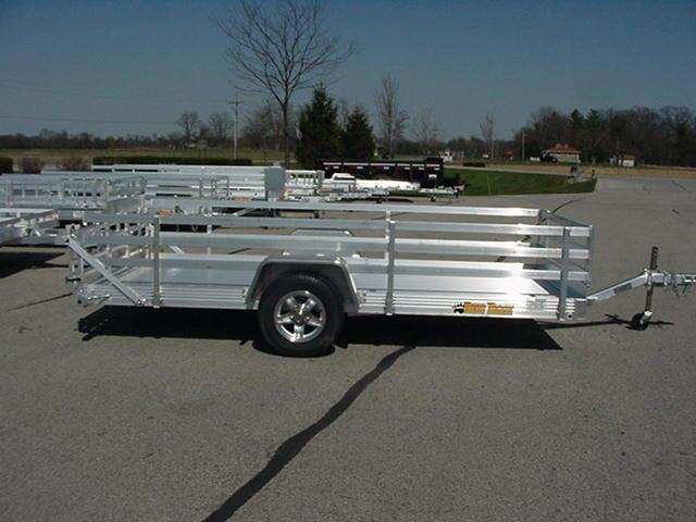 "Bear Track 82"" x 12' Aluminum w/  Bi-Fold Ramp and 24"" 3 Rail Sides"