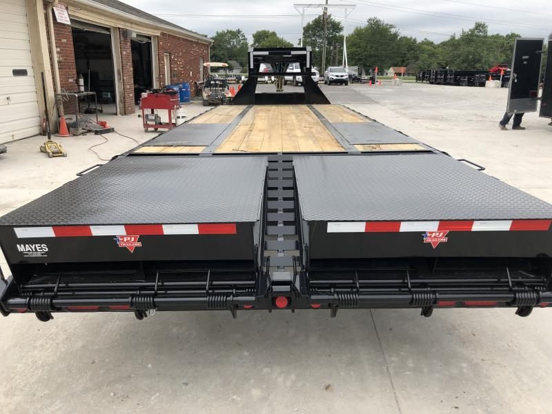 2020 102x25 Foot (20+5) TA PJ Trailers LD252 Equipment Trailer - Low Pro Gooseneck Flatdeck with Duals - Dovetail - Monster Ramps (GVW:  25000)
