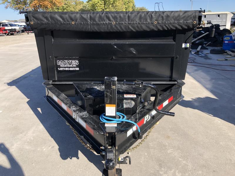 2020 83x14 TA PJ Trailers DM142 Dump Trailer - Split/Spread Gate - 10K Jack Upgrade - Spare Tire MOUNT ONLY - 3 Foot Tall Sides (GVW:  14000)