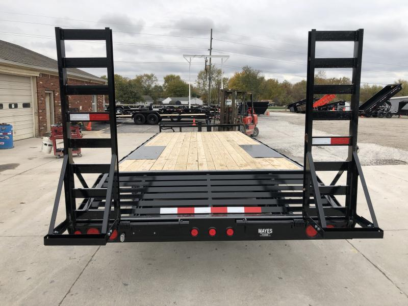 2020 96x22 TA Deckover PJ Trailers F8222 Equipment Trailer - 8 Inch I-Beam - Dovetail - Fold Up Ramps (GVW:  14000)