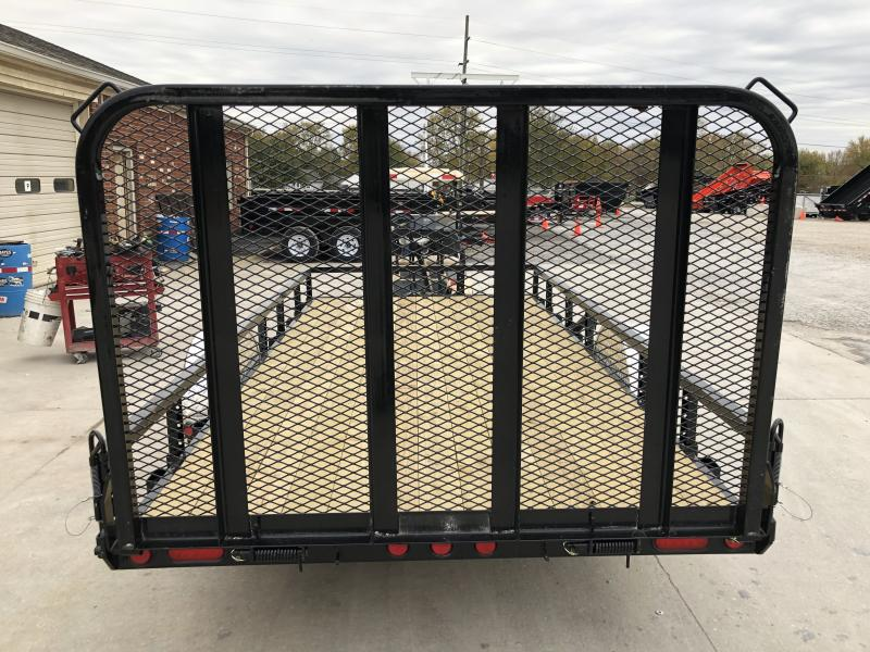 2020 77x14 SA PJ Trailers U7141 Utility Trailer - Straight Deck - Fold In Gate - Spare Tire MOUNT ONLY (GVW:  2995)