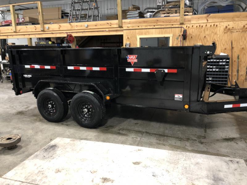 2020 83x14 TA Low Pro High Side PJ Trailers DM142 Dump Trailer - Split/Spread Gate - Tarp Kit - 3 Foot High Sides (GVW:  14000)
