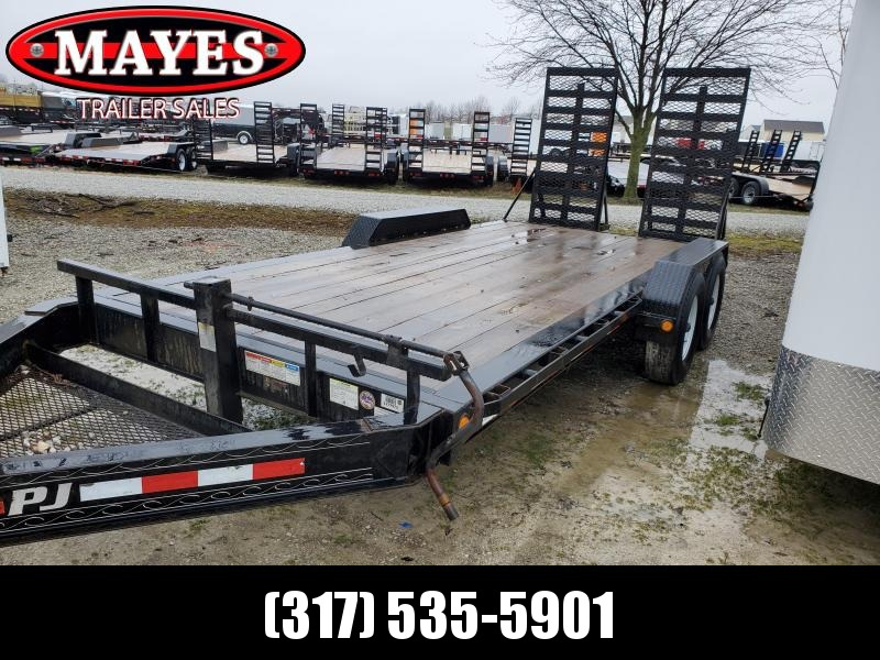 Used 2018 18 Foot / 18 Inch Pro Beam PJ Trailers H4182 Equipment Trailer - Oil Bath Axles - HD Fold Up Ramps (GVW:  16000)