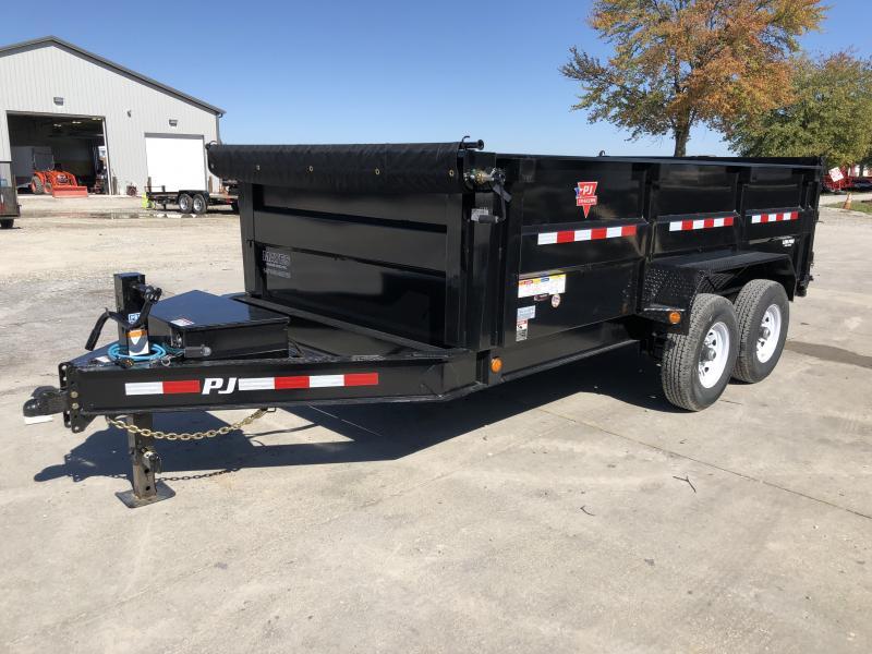2020 83x14 TA Low Pro High Side PJ Trailers DM142 Dump Trailer - Split/Spread Gate - 10K Jack Upgrade - Spare Tire MOUNT ONLY - 3 Foot Tall Sides (GVW:  14000)