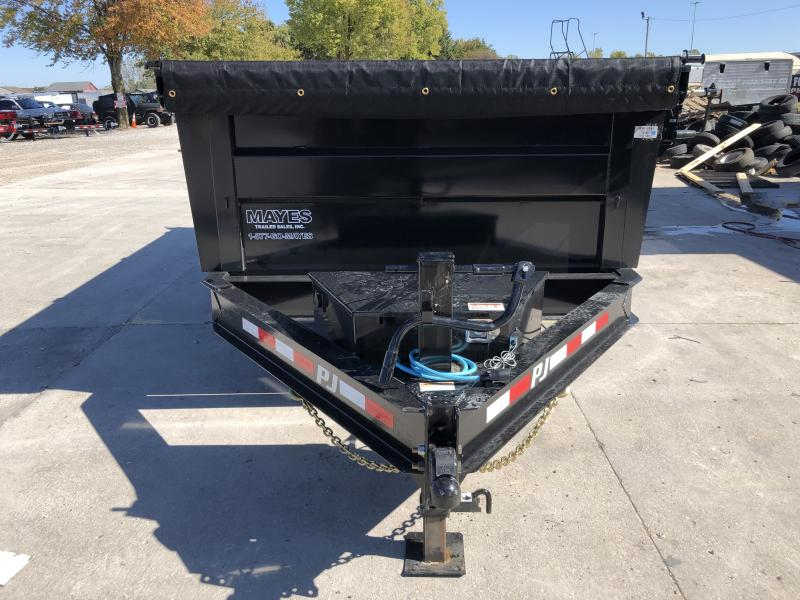 2020 83x14 TA Low Pro High Side PJ Trailers DM142 Dump Trailer - Split/Spread Gate - 10K Jack Upgrade - Spare Tire MOUNT ONLY - 3 Foot Tall Sides (GVW:  14000)