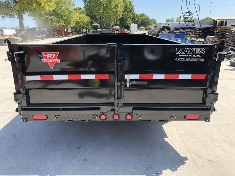 2020 83x16 TA Low Pro PJ Trailers DL162 Dump Trailer - Split Spread Gate - Tarp Kit - Spare Tire and Mount (GVW:  14000)