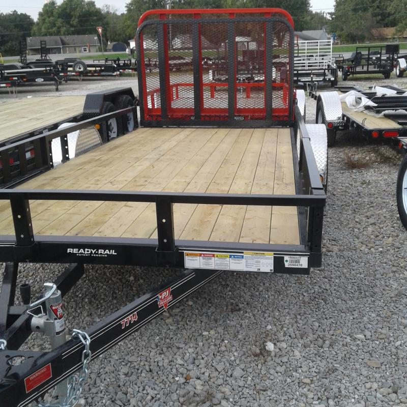2019 77x14 PJ Trailers U7 Utility Trailer - Straight Deck w/ 4' Fold-up Gate (GVW: 2995)(ATV Ramps)