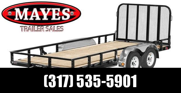 2020 83x18 (16+2) TA PJ UL182 Tandem Axle Channel Utility Trailer - Dovetail - Fold Up Gate - Treated Wood Floor (GVW:  7000)