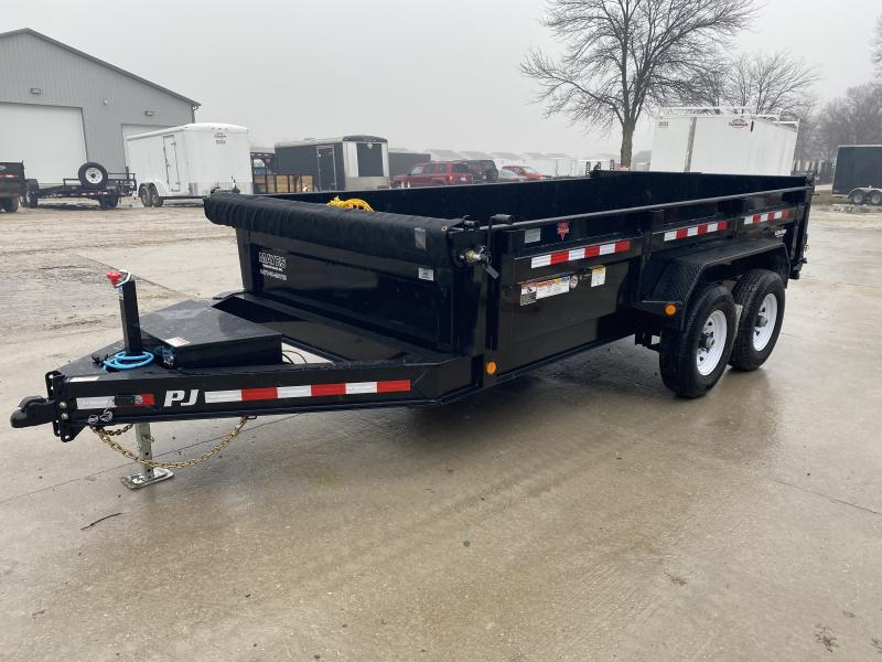 2020 83x14 Low Pro PJ Trailers DL142 Dump Trailer - Split/Spread Gate - Tarp Kit - Spare Tire MOUNT ONLY (GVW:  14000)