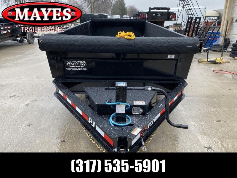 2020 83x16 TA Low Pro PJ Trailers DL162 Dump Trailer - Split/Spread Gate - Tarp Kit - Scissor Hoist - Spare Tire MOUNT ONLY (GVW:  14000)