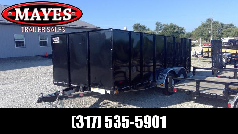 2020 83x16 TA PJ Trailers UL162 Utility Trailer - 4 Foot Fold Up Gate - 4 Foot Solid Metal Sides (GVW:  7000)