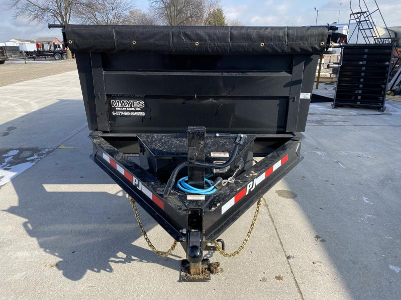 2020 83x14 TA Low Pro High Side PJ Trailers DM142 Dump Trailer - Scissor Hoist - 6 Inch Cylinder Upgrade - Tarp Kit - 3 Foot Tall Sides (GVW:  14000)