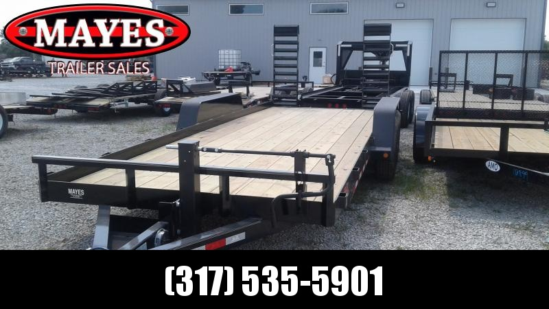 2020 B-B 83x20 Foot Angle Iron BCT2014E Equipment Trailer - Flip Up Ramps (GVW:  14000)