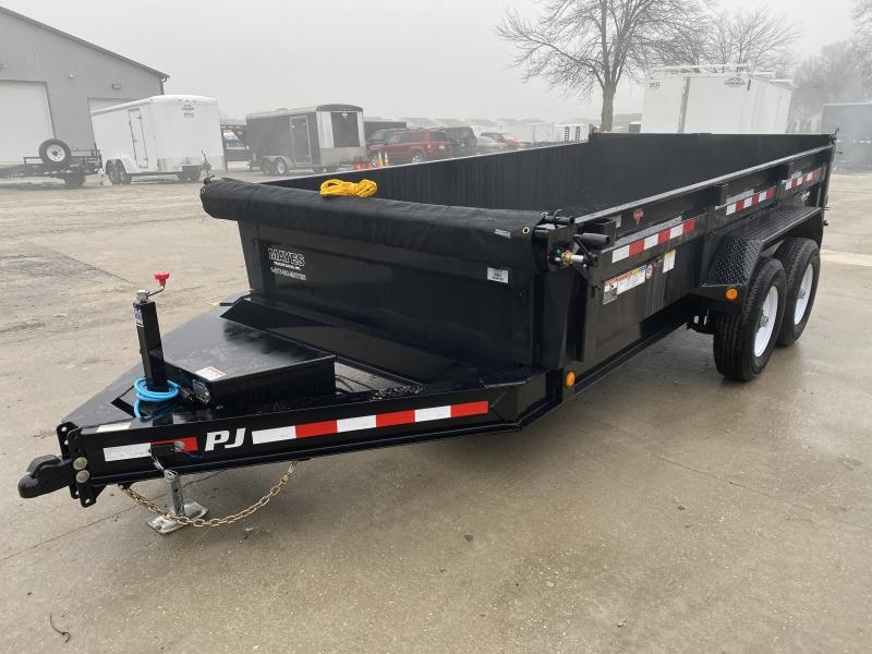 2020 83x14 TA Low Pro PJ Trailers DL142 Dump Trailer - Tarp Kit - Split/Spread Gate - Spare Tire MOUNT ONLY (GVW:  14000)