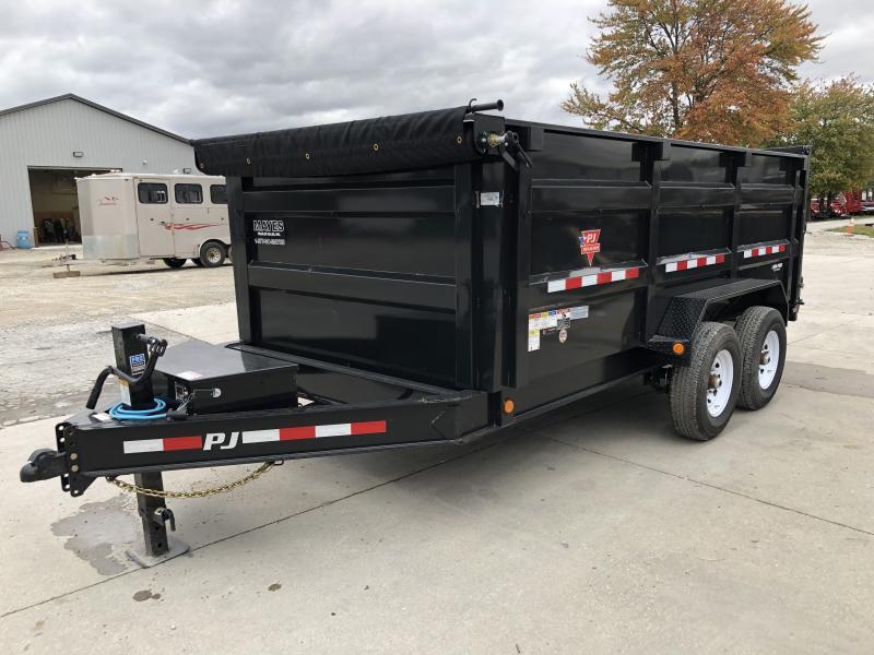 2020 83x14 Low Pro High Side PJ Trailers DM142 Dump Trailer - Split/Spread Gate - 10K Jack Upgrade - Spare Tire MOUNT ONLY - Tarp Kit (GVW:  14000)