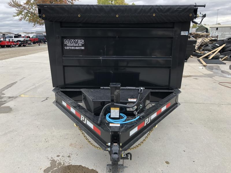 2020 83x14 Low Pro High Side PJ Trailers DM142 Dump Trailer - Split/Spread Gate - 10K Jack Upgrade - Spare Tire MOUNT ONLY - Tarp Kit (GVW:  14000)