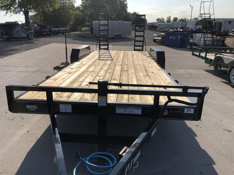 2020 83x22 Foot (20+2) 6 Inch Channel PJ Trailers CC222 Equipment Trailer - Fold Up Ramps (GVW:  14000)