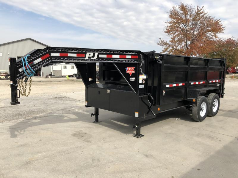 2020 83x14 TA Low Pro ( 4' High Side ) Gooseneck PJ Trailers DM142 Dump Trailer - Split/Spread Gate - Tarp Kit (GVW:  15680)