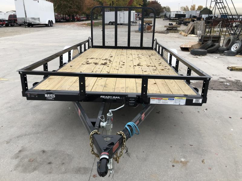 2020 83x14 SA PJ Trailers U8141 Utility Trailer - Straight Deck - Fold In Gate - Electric Brakes (GVW:  4995)
