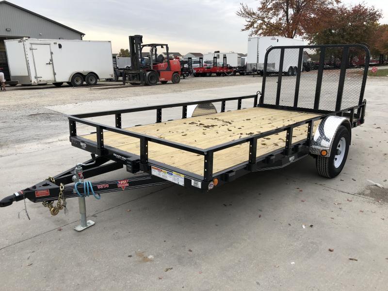2020 83x14 SA PJ Trailers U8141 Utility Trailer - Straight Deck - Fold In Gate - Electric Brakes (GVW:  4995)