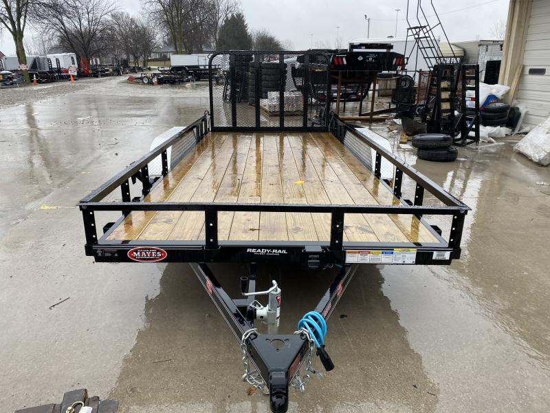 2020 83x16 TA PJ Trailers UL162 Utility Trailer - Straight Deck - Fold In Gate - Spare Tire MOUNT ONLY (GVW:  7000)