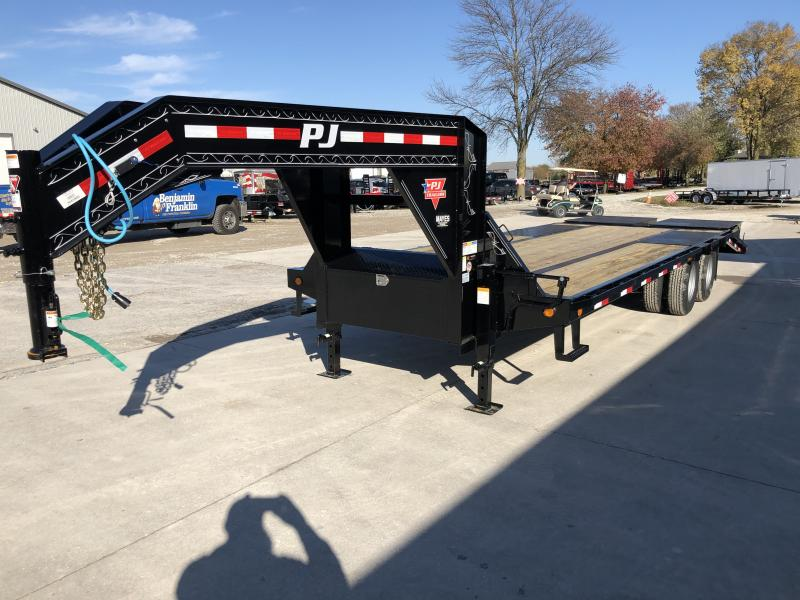 2020 102x25 (20+5) TA PJ Trailers LD252 Equipment Trailer - Low Pro with Duals - Dovetail - Flip Over Monster Ramps (GVW:  25000)