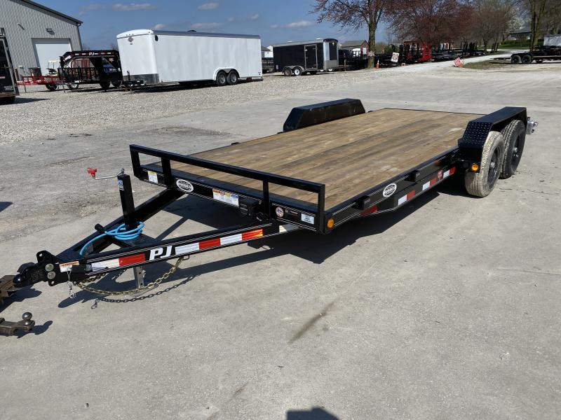 """2020 83x18(16+2) PJ Trailers CE 5"""" Channel Car / Racing Trailer - w/ 5ft Rear Slide-in Ramps (GVW: 9899)"""