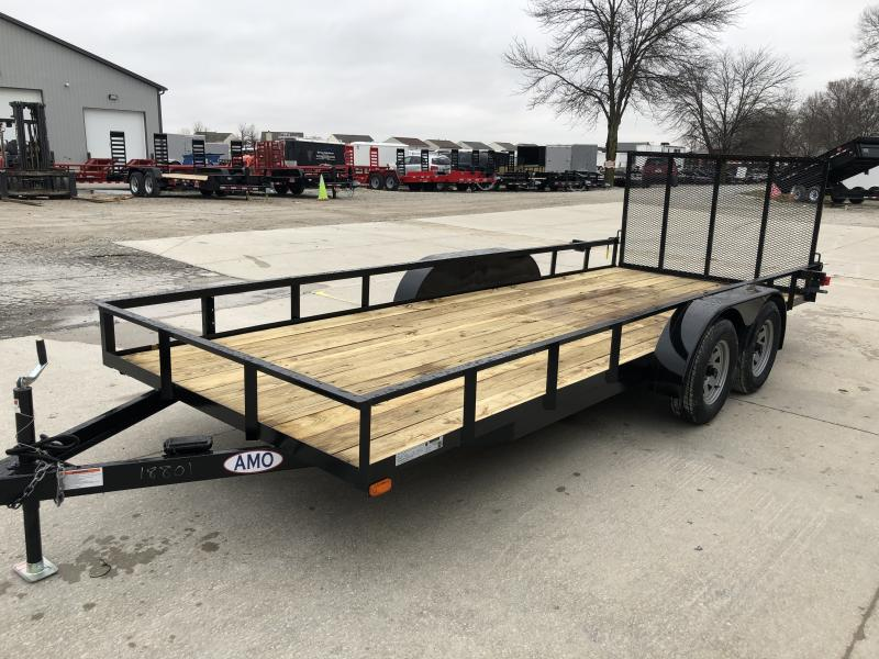 2020 76x18 TA AMO UT182 Utility Trailer - Straight Deck - Treated Wood Floor - Tailgate (GVW:  7000)