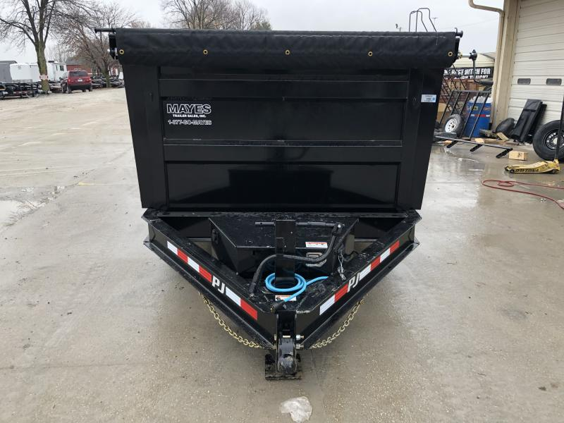 2020 83x14 TA Low Pro PJ Trailers DM142 Dump Trailer - Split/Spread Gate - Tarp Kit - Spare Tire MOUNT ONLY (GVW:  14000)