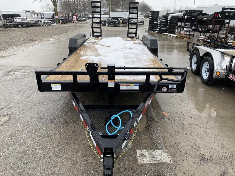 2020 20' (18+2) TA PJ Trailers CC202 Equipment Trailer - 6 Inch Channel Frame - Dovetail - 5 Foot Fold Up Ramps - Spare Tire MOUNT ONLY (GVW:  14000)