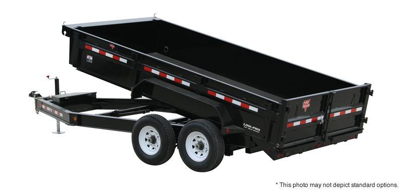 "2020 83x14 TA Low Pro PJ Trailers 14' x 83"" Low Pro Dump Trailer - Split/Spread Gate - Jack Upgrade - Tarp Kit (GVW:  14000)"
